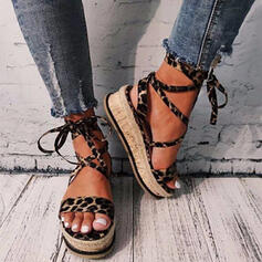 Women's PU Flat Heel Sandals Platform Peep Toe With Lace-up Hollow-out shoes