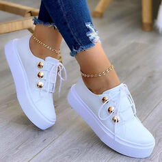 Women's PU Flat Heel Flats Low Top Round Toe Sneakers With Lace-up Button shoes