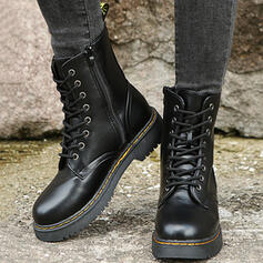Women's PU Chunky Heel Platform Mid-Calf Boots Martin Boots Round Toe With Zipper Lace-up Solid Color shoes
