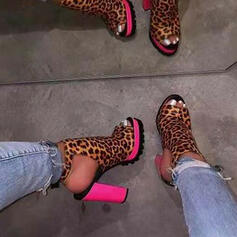 Women's Suede Chunky Heel Pumps Peep Toe With Animal Print Splice Color shoes