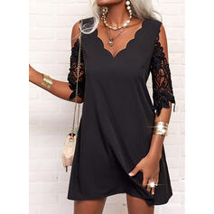 Solid Lace 1/2 Sleeves Shift Above Knee Little Black/Elegant Tunic Dresses