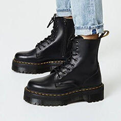 Women's PU Flat Heel Ankle Boots Martin Boots Round Toe With Lace-up Solid Color shoes