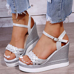 Women's PU Wedge Heel Sandals Platform Wedges Peep Toe Slingbacks With Buckle Braided Strap Solid Color shoes