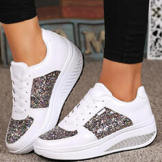Women's PU Others Flats Round Toe Sneakers With Sequin Lace-up shoes