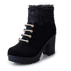 Women's Fabric Chunky Heel Boots Ankle Boots Pointed Toe With Zipper Flower Solid Color Lace shoes