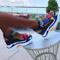 Women's Microfiber Leather Wedge Heel Sandals Platform Wedges Peep Toe Slingbacks Heels With Hollow-out Velcro Splice Color shoes