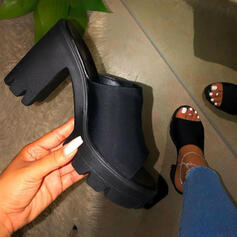 Women's Suede Chunky Heel Sandals Pumps Peep Toe Slippers Heels Round Toe With Solid Color shoes