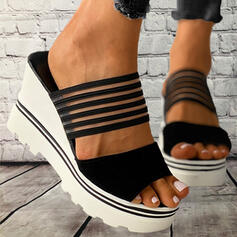 Women's PVC Wedge Heel Sandals Platform Wedges Peep Toe Slippers With Hollow-out Bandage Striped shoes