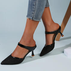 Women's Cloth Mesh Kitten Heel Sandals Pumps Closed Toe Slippers Pointed Toe With Hollow-out Solid Color shoes