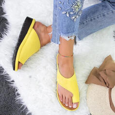 Women's PU Flat Heel Flats Slippers Toe Ring With Others shoes