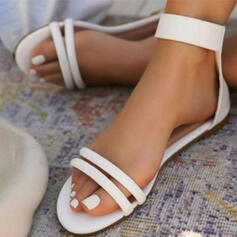 Women's Leatherette Flat Heel Sandals Flats Peep Toe With Buckle Hollow-out Solid Color shoes