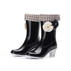 Women's PVC Chunky Heel Boots Mid-Calf Boots Rain Boots With Flower shoes