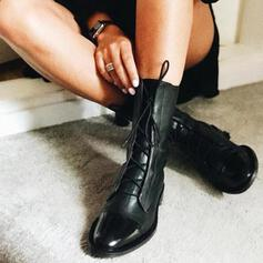 Women's PU Chunky Heel Ankle Boots With Lace-up shoes