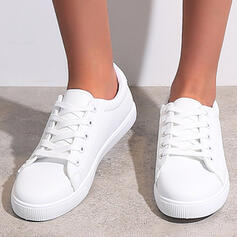 Women's PU Flat Heel Flats Espadrille Sneakers With Lace-up Solid Color shoes