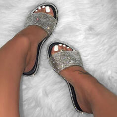 Women's PU Flat Heel Sandals Flats Peep Toe Slippers With Sparkling Glitter Splice Color shoes