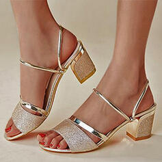 Women's PU Chunky Heel Sandals Pumps Peep Toe Heels With Sequin Hollow-out shoes