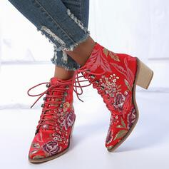 Women's PU Chunky Heel Ankle Boots Pointed Toe With Sequin Lace-up Floral Print shoes