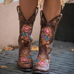 Women's PU Chunky Heel Mid-Calf Boots Pointed Toe Riding Boots With Floral Embroidery shoes
