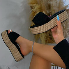 Women's PU Flat Heel Sandals Platform Peep Toe Slippers With Hollow-out Splice Color shoes