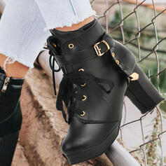Women's PU Chunky Heel Round Toe Martin Boots With Rivet Lace-up shoes