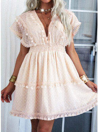 Lace/Solid Cap Sleeve A-line Above Knee Casual Skater Dresses