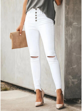 Solid Plus Size Ripped Sexy Plain Pants