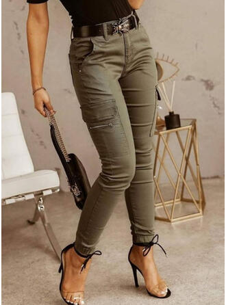 Solid Pockets Casual Vintage Pants