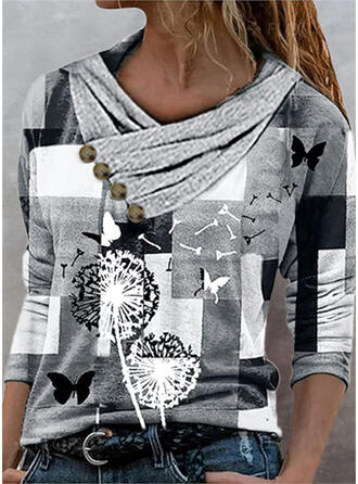 Color Block Dandelion Print Butterfly V-Neck Long Sleeves T-shirts
