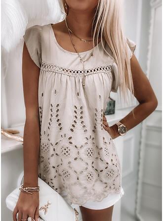 Hollow-out Solid Round Neck Cap Sleeve Tank Tops