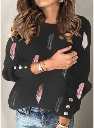 Print Feather Round Neck Long Sleeves Casual Blouses