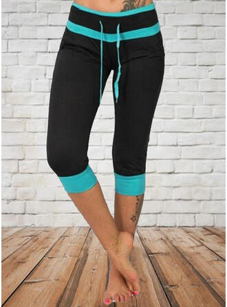 Patchwork Plus Size Casual Sporty Leggings
