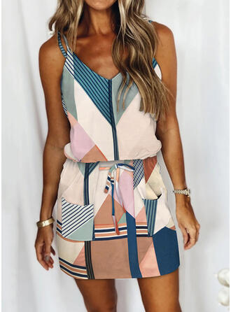 Color Block/Striped/Patchwork Sleeveless Sheath Above Knee Casual Slip Dresses