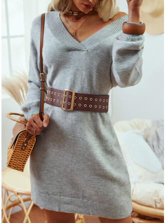 Solid Long Sleeves Dropped Shoulder Casual Dresses