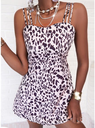 Leopard Sleeveless A-line Above Knee Casual Skater Dresses