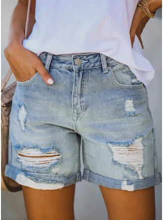 Solid Cotton Above Knee Casual Plus Size Pocket Ripped Button Pants Shorts Denim & Jeans
