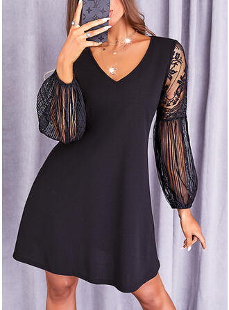 Solid Lace Long Sleeves Shift Above Knee Little Black/Casual Tunic Dresses