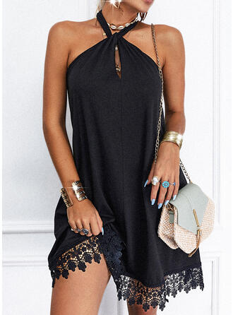 Lace/Solid/Backless Sleeveless A-line Above Knee Little Black/Casual Skater Dresses