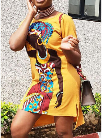 Plus Size Print Short Sleeves Shift Above Knee Casual Vacation Dress