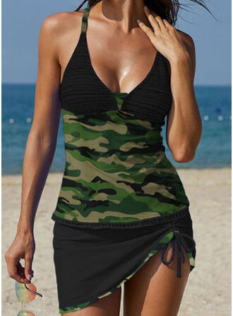 Patchwork Strap V-Neck Sports Plus Size Casual Tankinis Swimsuits
