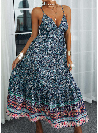 Print/Backless Sleeveless A-line Slip/Skater Casual/Vacation Maxi Dresses