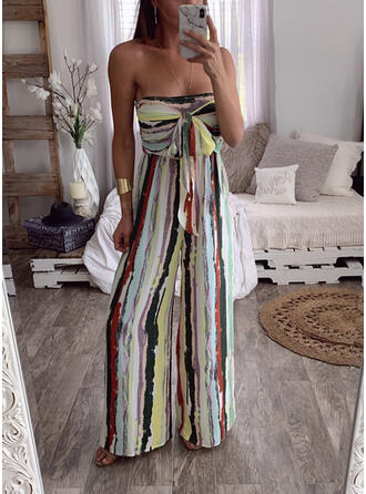 Striped Strapless Sleeveless Casual Sexy Jumpsuit