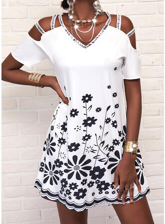 Print/Sequins/Floral Short Sleeves Shift Above Knee Casual Tunic Dresses