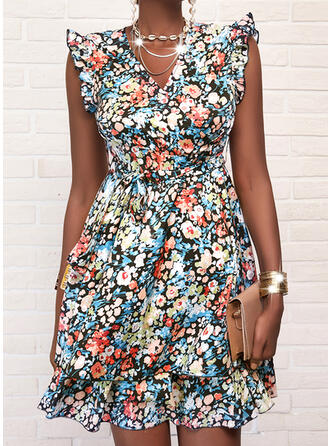 Print/Floral Cap Sleeve A-line Above Knee Casual Skater Dresses