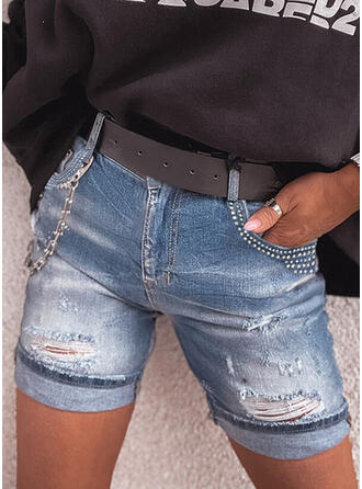 Denim Above Knee Casual Plus Size Pocket Ripped Chains Pants Shorts Denim & Jeans