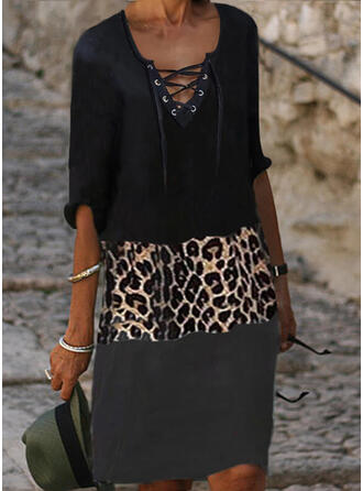 Color Block/Leopard/Lace-up 1/2 Sleeves Shift Knee Length Casual Tunic Dresses