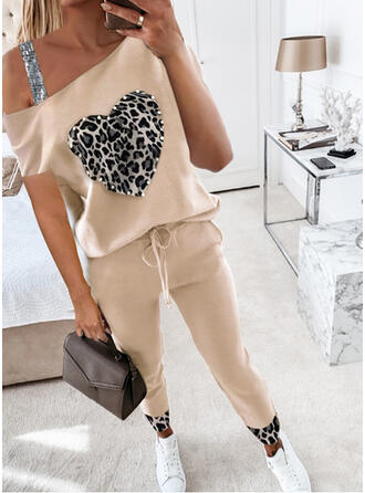 Leopard Heart Sequins Casual Plus Size Drawstring Pearl Two-Piece Outfits