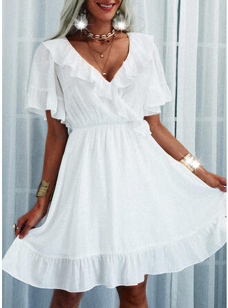 Solid/Backless Short Sleeves/Flare Sleeves A-line Above Knee Casual Wrap/Skater Dresses