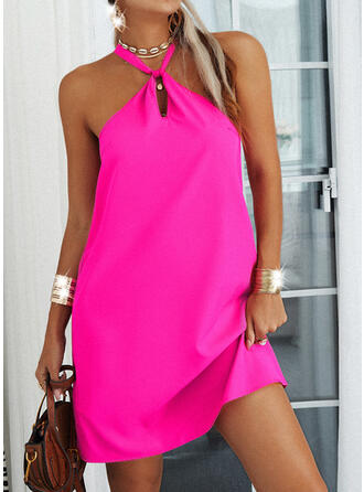Solid/Backless Sleeveless Shift Above Knee Casual Dresses