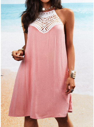 Lace Sleeveless Shift Above Knee Casual Dresses