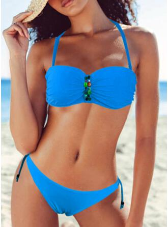 Solid Color Halter Sexy Colorful Bikinis Swimsuits
